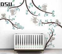 Monkey And Koala Tree Branches Wall Sticker Home Decor Nursery Nature Tree Art Mural Baby Kids Room Wall Decoration Wallpaper
