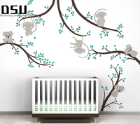 Monkey And Koala Tree Branches Wall Sticker Home Decor Nursery Nature Tree Art Mural Baby Kids Room Wall Decoration Wallpaper