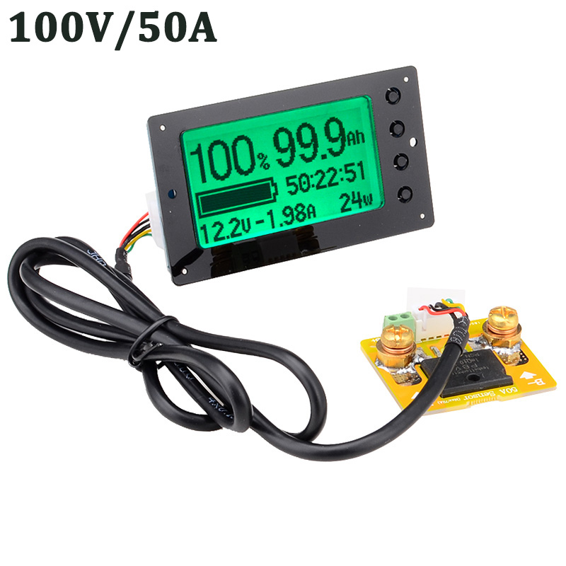 100V 50A Lead acid Lithium Battery Capacity Tester Voltage Current Display Coulometer Coulomb Counter Free Shipping