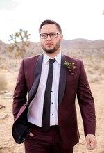 Classic design, a button, Burgundy groom's dress, best man shawl, collar, best men's suit, wedding men's suit jacket + pants + T