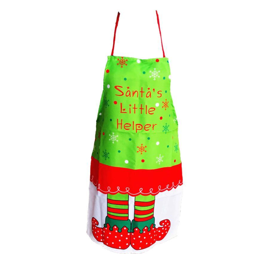 1PC Cute Cartoon Christmas Printing Apron Whimsy Novelty Gift Kitchen Apron 2AU23