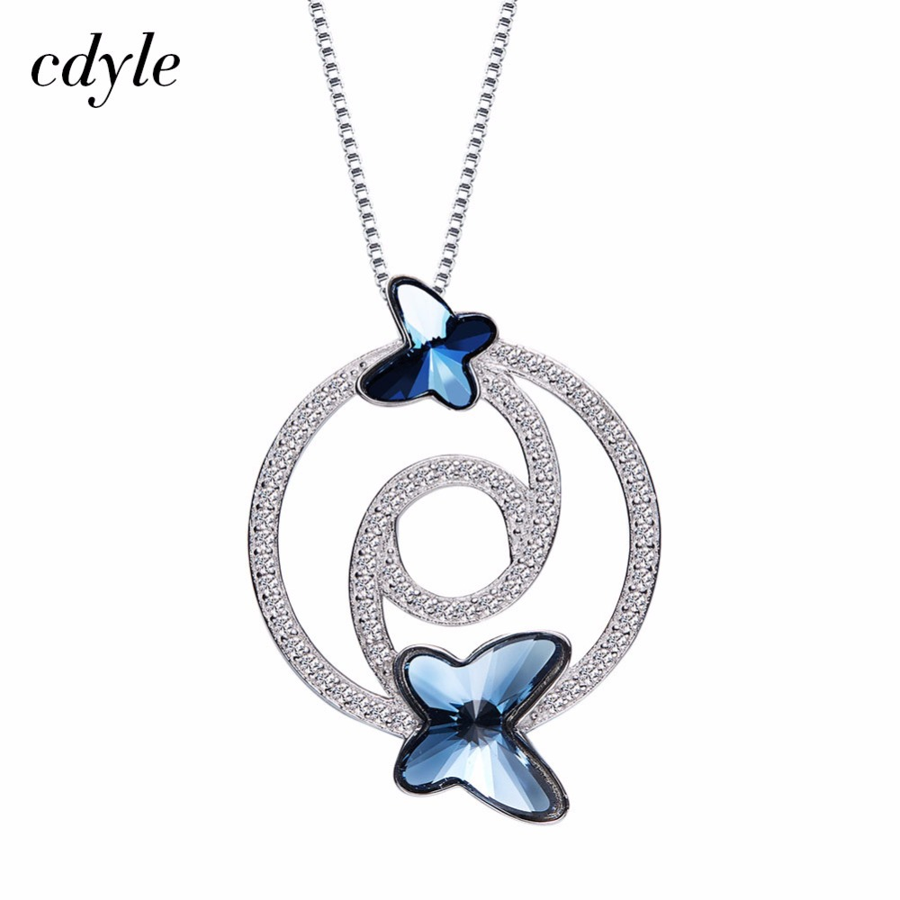 Cdyle Crystals from Swarovski Necklace Women Pendants S925 Sterling Silver Jewelry Blue Series Fashion Elegant Jewelry
