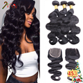 Grade 8A Unprocessed Human Hair With Closure Mink Brazilian Virgin Hair Body Wave With Closure 4 Bundles Queen King Hair Product