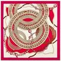 100 cm * 100 cm Sarja De Seda Da Marca Euro Primavera Rose Flores de cetim Mulheres Praça Scarf Femal Muçulmano hijab Shaw Foulard bufandas NZ52