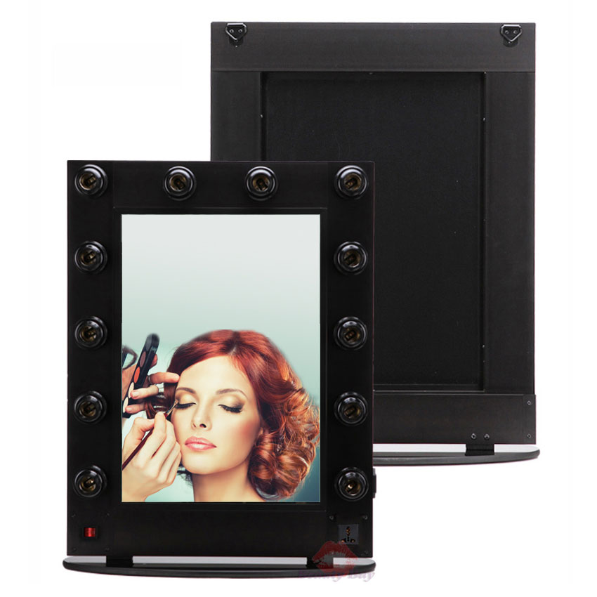 50 65cm Large Cosmetic makeup mirror case with 12pcs lights Makeup artist beauty table mirror cosmetic