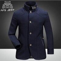 Afs джип 2015 зима хорошее качество Для мужчин тонкий кашемир и шерсть смесь, Винтаж темно-синий одной кнопки груди Тонкий модное пальто