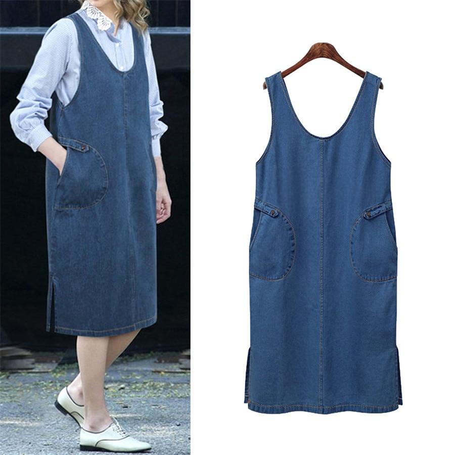 Hodisytian Women Denim Dress Straight Sundress Casual Button Mid Tank Dress Sleeveless Solid Vestido Femme Jean