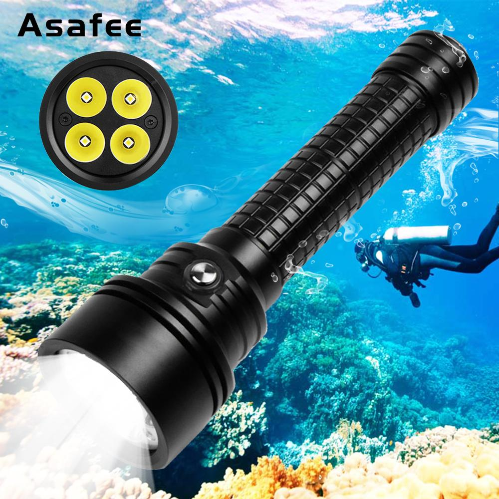 Asafee DIV15S Powerful Diving Light Torch 3800 Lumens 4pcs Cree XPL V3 LED Magnetic Switch Professional
