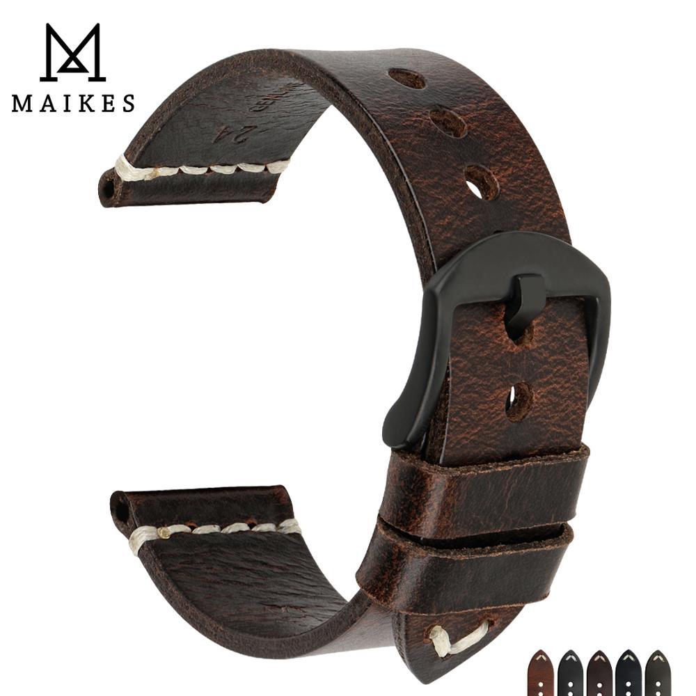 MAIKES Sales 20mm 22mm 24mm Genuine Calf Leather Watchbands Retro Grain Stainless Steel Pin Buckle Wrist Watch Belt Bracelets