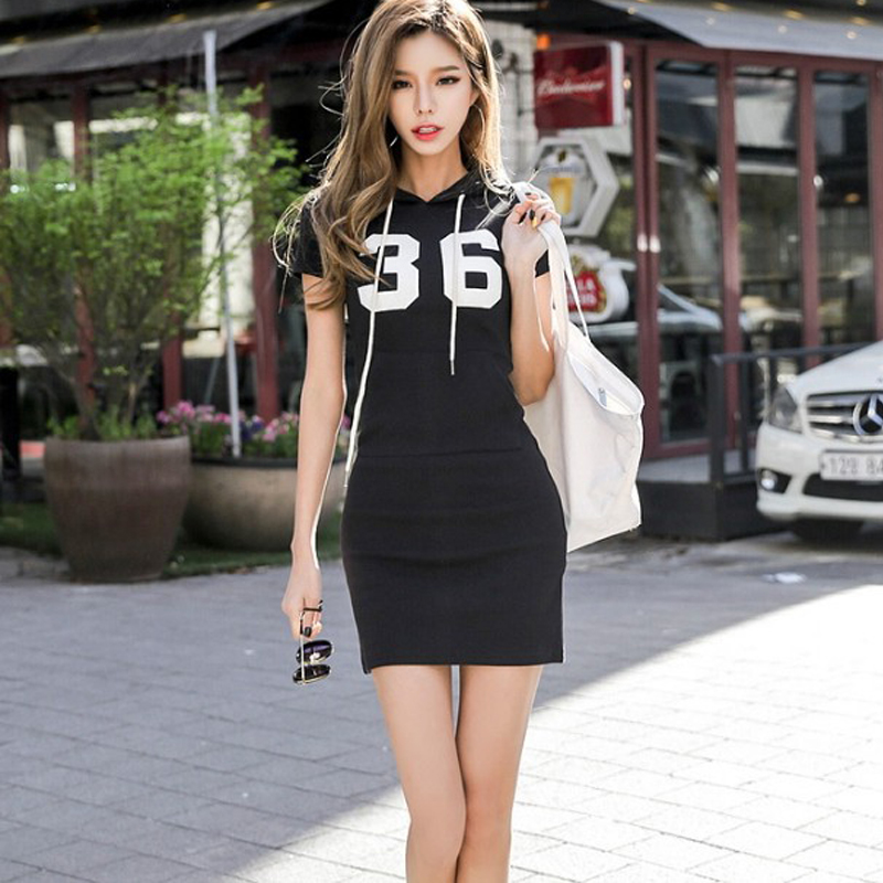 Sport Women Dresses Hooded Digital Summer Short Sleeve Above Knee Slim High Street Young Lady Printed 2019 New Style Casual