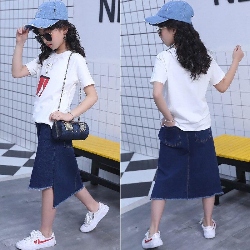 kids clothes Girls summer suit 2019 new fashion girls round neck short-sleeved T-shirt denim skirt childrens