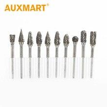 Auxmart 10pcs/set Assorted 3mm Head Tungsten Carbide Rotary Point Burr Die Grinder Bit 6mm Shank Milling Cutter Abrasive Tools
