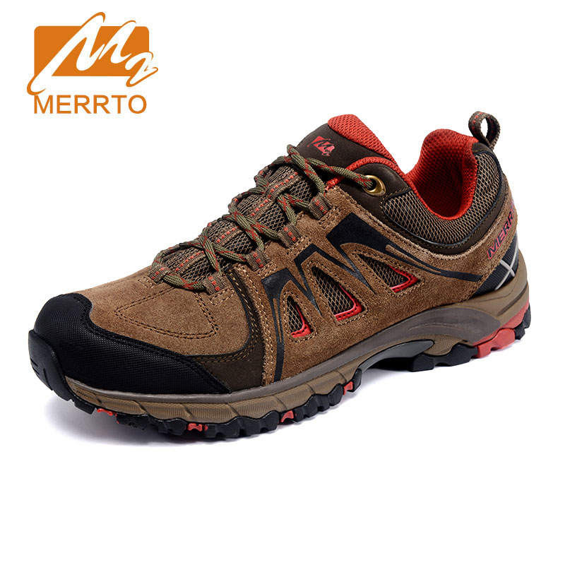 MERRTO Man Genuine Leather Hiking Shoes Breathable Sports Climbing Walking Shoes font b Hunting b font