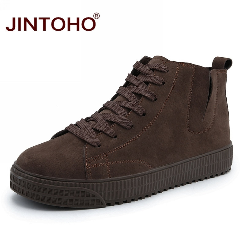 JINTOHO Winter Men Shoes Fashion Brown Leather Boots For Men Casual Snow Boots Cheap Men Winter Boots Casual Leather Shoes