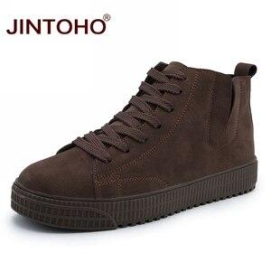 Image 1 - JINTOHO zapatos de invierno para hombre, botas de nieve de cuero marrón casuales, botas de invierno baratas