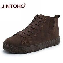 Jintoho botas de couro masculinas, botas de couro, para inverno, casuais