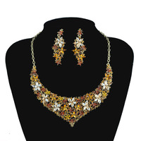 Bride S Necklace Earrings Set Topaz Flowers Wedding Evening Party Jewelry Set Europe Style New Arrival