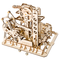 3D Wooden Toys Marble Run Game DIY Waterwheel Coaster Wooden Model Building Kits Assembly Toy Constructor Toys Gift for Children