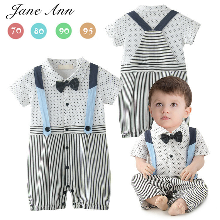 Baby boy cotton outfit summer short sleeve gentlemen bow tie white jumpsuit strap romper infant party wedding birthday clothes newborn infant baby girl clothes strap lace floral romper jumpsuit outfit summer cotton backless one pieces outfit baby onesie