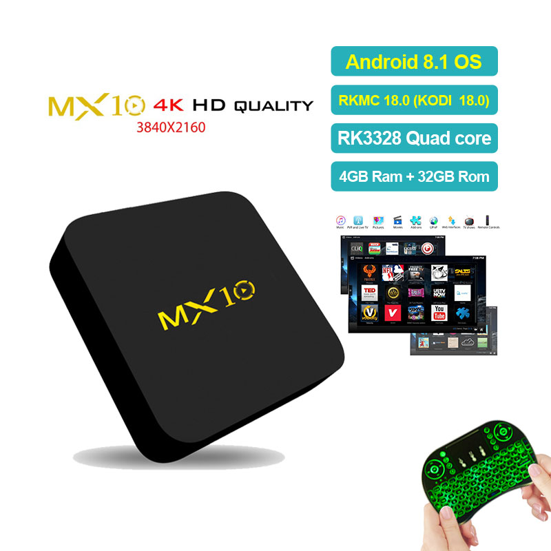 MX10 4GB DDR4 32GB eMMC Android 8.1 TV BOX RK3328 Quad Core KODI 18.0 4K HDR 2.4GHz WIFI USB 3.0 Smart Set Top Box PK H96 pro