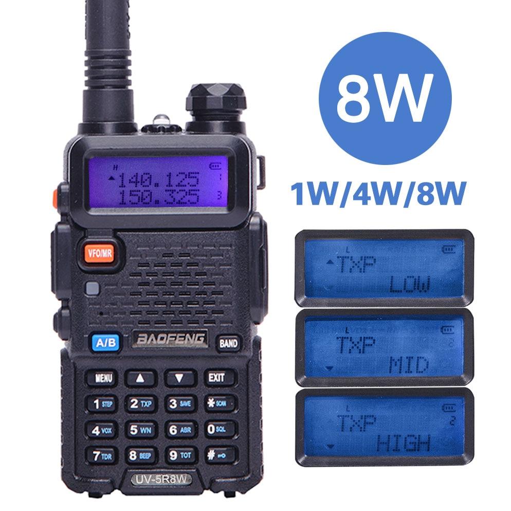BaoFeng UV-5R 8 w puissant Talkie Walkie 8 Watts 10 km longue portée Deux voies CB radio uv 5r de poche uv5r