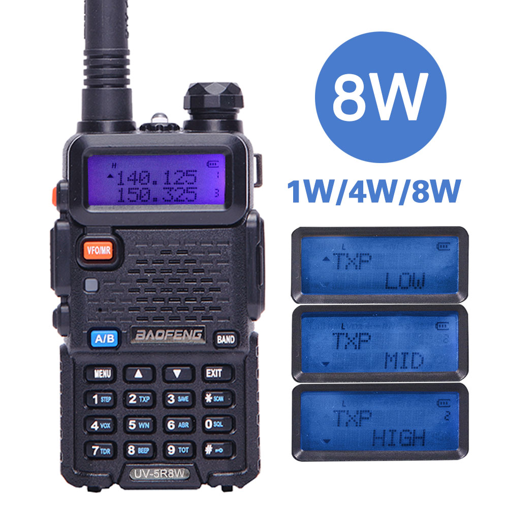 BaoFeng UV-5R 8 watt leistungsstarke Walkie Talkie 8 Watt 10 km long range Two way CB radio uv 5r handheld uv5r