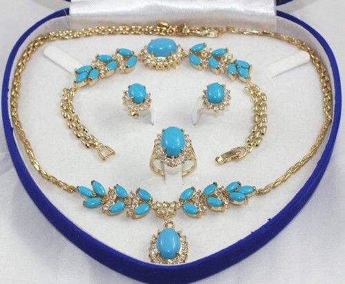 Shipping1set 18 K or jaune GP Inlay Turquoise collier Bracelet boucle d'oreille anneau A + aucune boîte