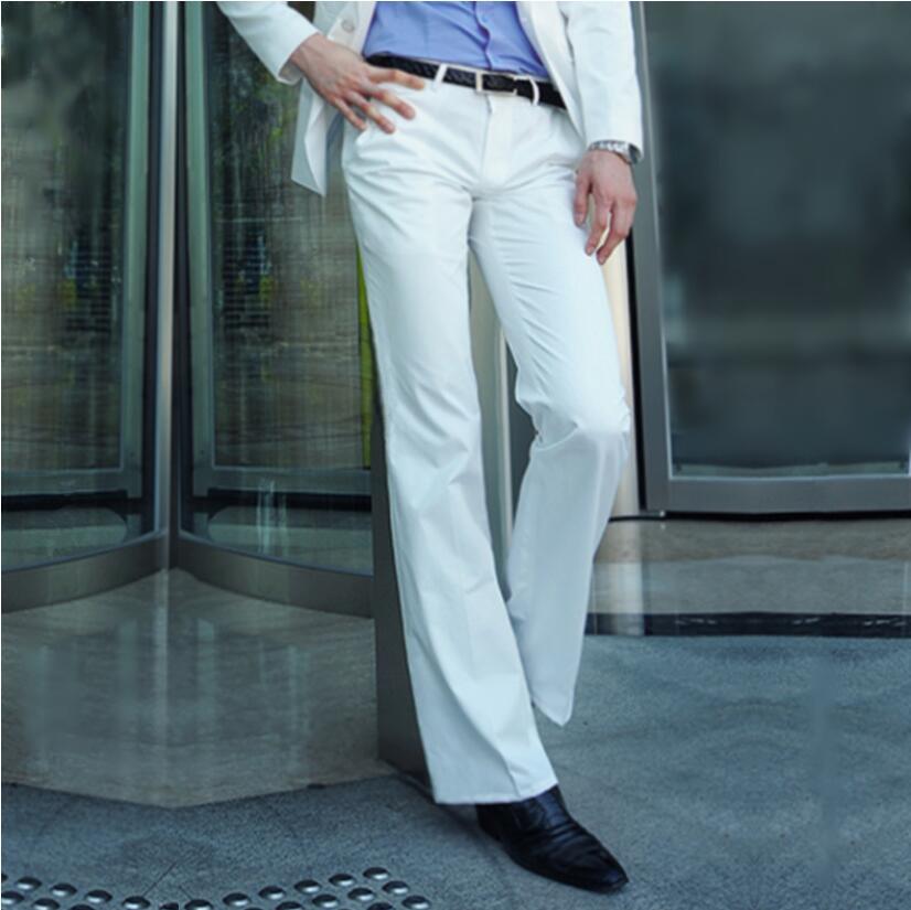 2020 Micro-horn Trousers Male Business White Straight Wide-leg Suit Pants British Casual Men's Big Pants Men's Trousers