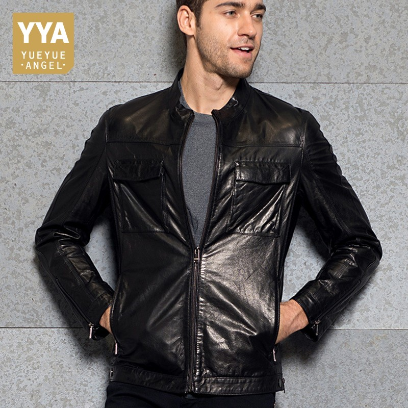 Top Brand Men Stand Collar Motorcycle Outwear Jacket Luxury Genuine Leather Pockets Punk Coats Slim Fit Business Casual Jackets