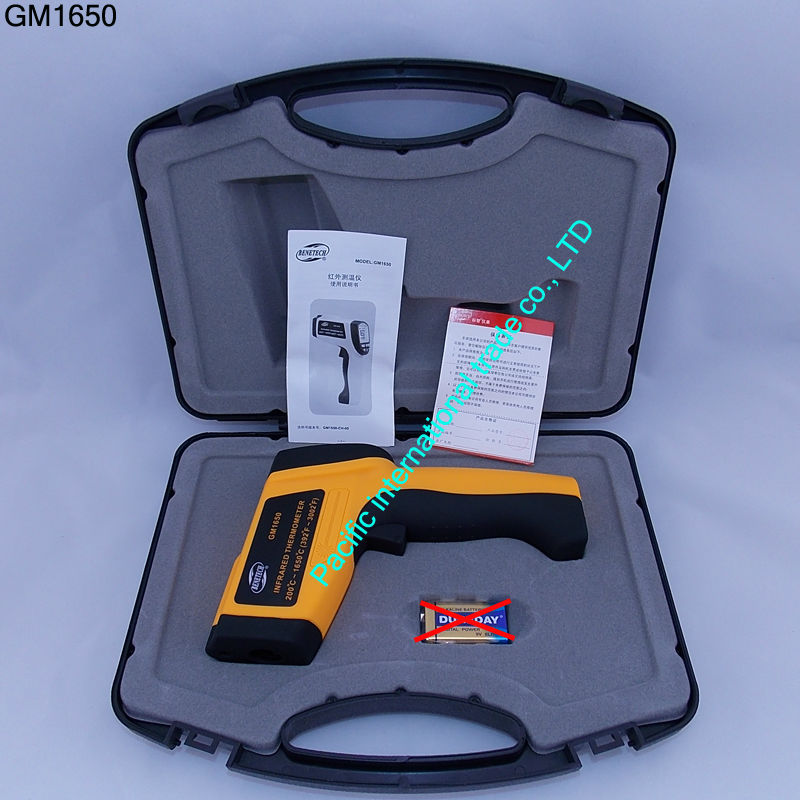 цены  GM1650 Non-contact IR Infrared Digital Thermometer with Laser Measurement Range 200~ 1650 degrees industrial With Carry Box