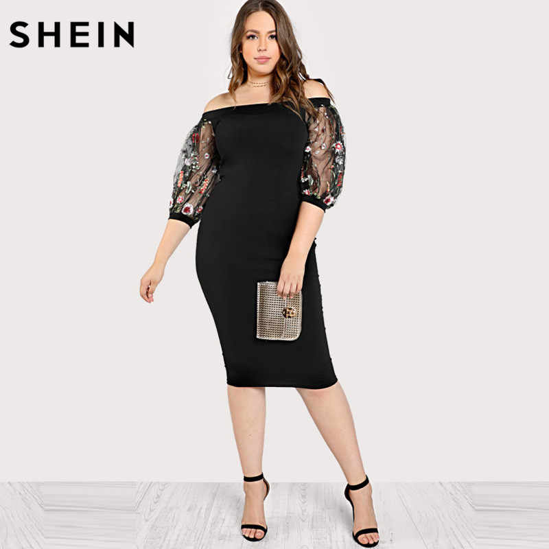 7747678743 SHEIN Black Plus Size Party Summer Dress Off the Shoulder Bardot Pencil  Dress Embroidered Mesh Sleeve