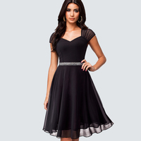 New Sexy Sequins Swing Party Dress Women Elegant Classic Black Chiffon A Line Dress Summer Vestido