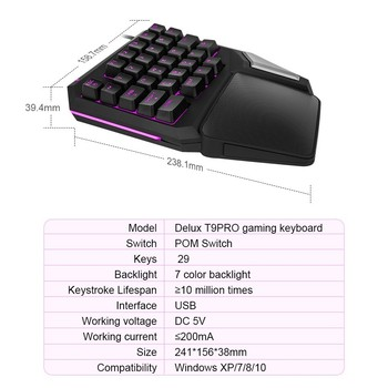 Programmable Keys Delux T9 Pro Single Handed Game keyboard one hand Ergonomic Gaming Keypad For PUBG gun PC Laptop 2