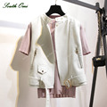 New! White Leather Vest PU Soft Vest Ladies tatical Leather Motorcycle Vest Pocket waistcoat Rivet colete female WaistCoat Biker