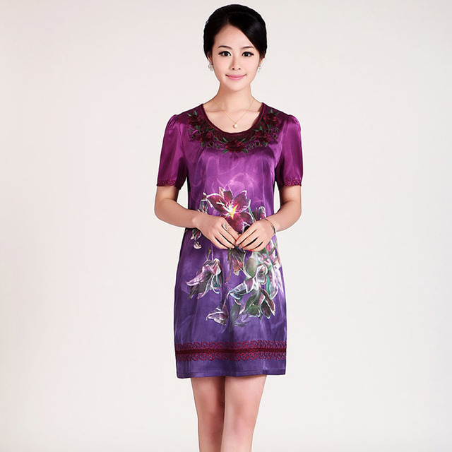 Free shipping 2013 summer women's quality o-neck fashion plus size slim breathable print silk one-piece dress