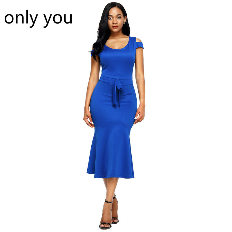 ONLY YOU Dresses Women Work Wear Royal Blue Cold Shoulder Bow Detail Short Sleeve Mermaid Dress Vestidos casual verano LC61686