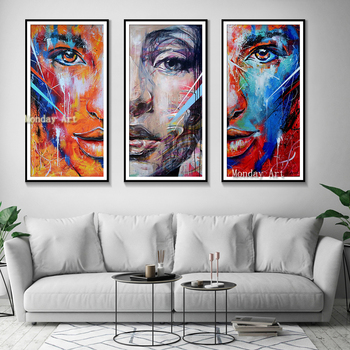 High Quality Handmade Original Girl face Oil Paintings Artist hand Painted abstract Painting Wall art pictures for living room