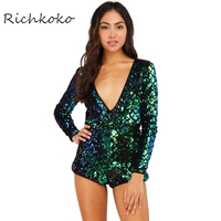 Richkoko Sexy Backless Solid Women Playsuits Deep V Neck Sequin Casual Rompers Zipper Brief Skinny Female
