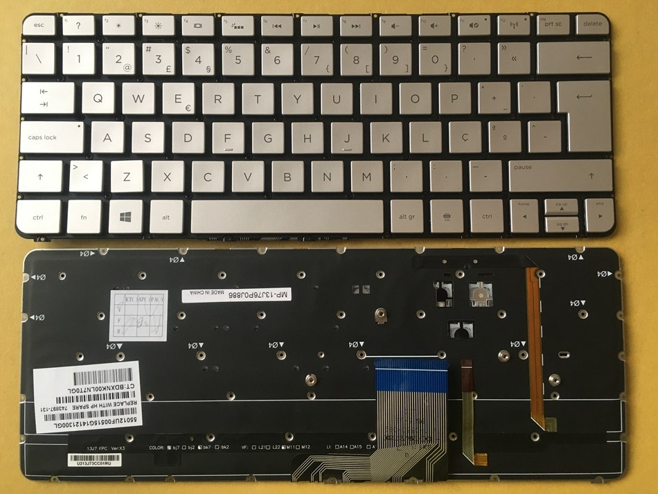 PO Portuguese Keyboard for HP Spectre 13-3000 13-3000ea 13-3000ed 13-3000ee 13-3000er 743897-131 Silver With Backlit keyboard