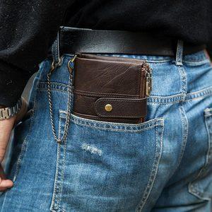 Image 5 - 100% אמיתי עור Rfid ארנק גברים מטורף סוס ארנקים מטבע ארנק קצר זכר כסף תיק איכות מעצב מיני Walet קטן