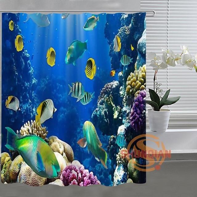 fish Underwater world Custom Shower Curtain Bathroom Fabric For ...