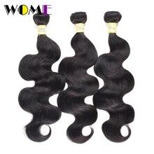 Wome Bodywave Bundles #1b& Natural Black Brazilian Human Hair Weave 3 Bundles 100% Non remy Double Weft Hair Extensions 8 30inch