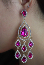 Hot selling  fashion muti color rhinestone crystal water  long tassel drop earrings for bridal wedding erring jewelry