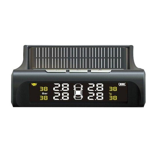 Tpms タイヤ空気圧警報モニターソーラー自動タイヤ圧力センサー液晶ディスプレイ 4 タイヤリアルタイムワイヤレス外部センサー