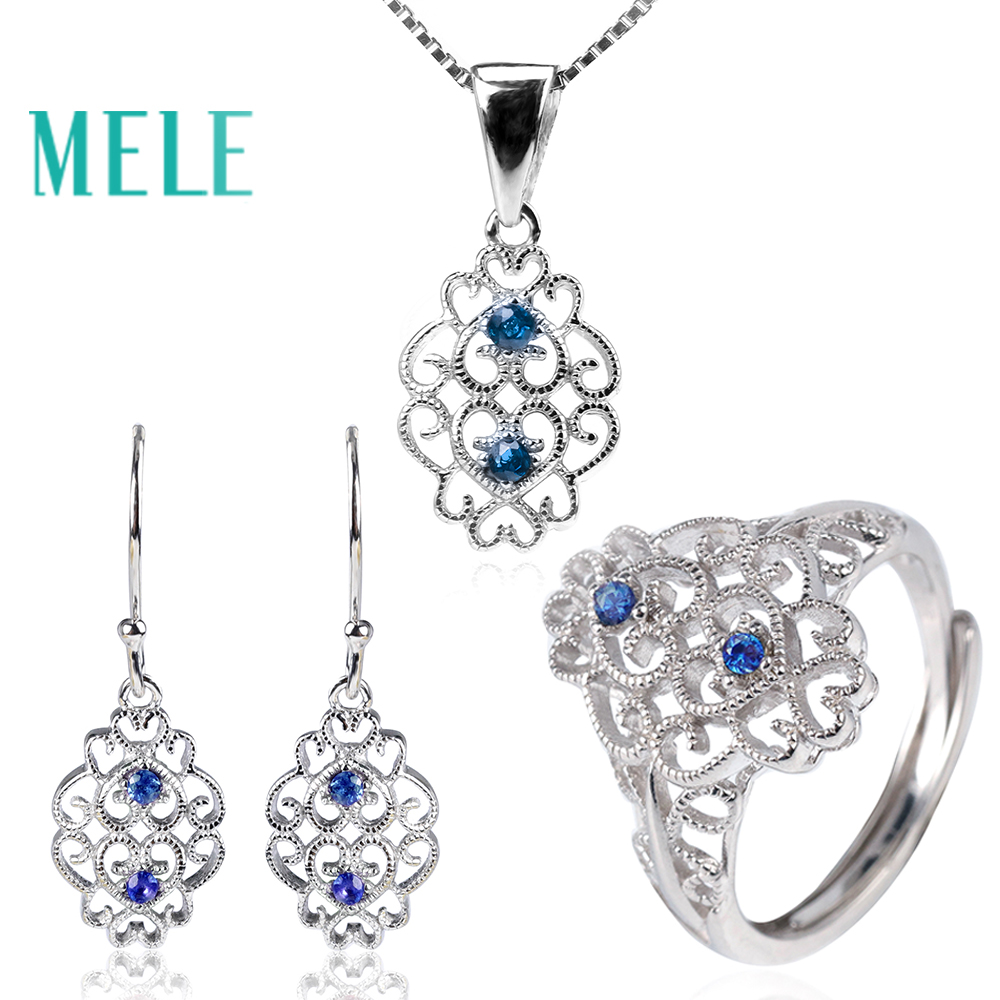 Natural sapphire Jewelry Sets for women,fashion popular style with 925 sterling silver,mian stones are 1.8mm ,Gift for