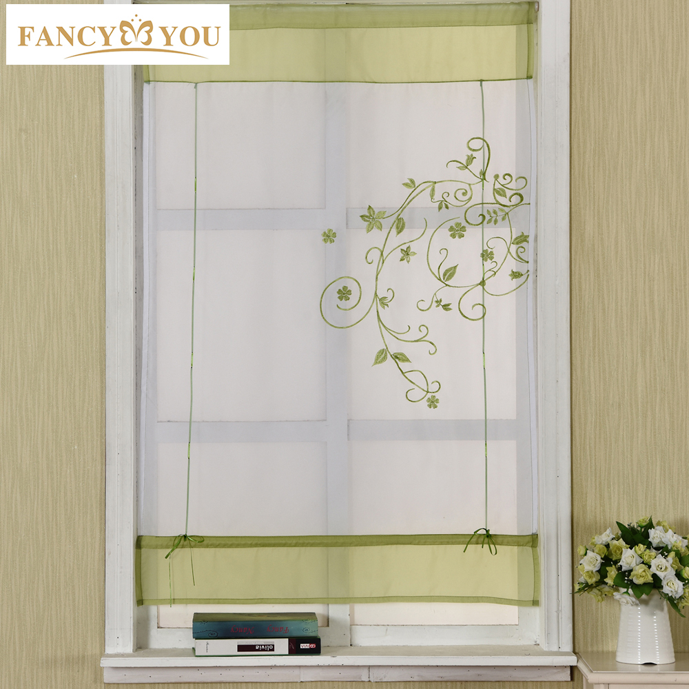 Kitchen Short Curtains Roman Blinds White Sheer Tulle: Tulle For Window Roman Short Curtain Blinds Embroidered