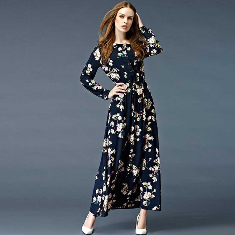 bc7bfec615559 2019 Spring Autumn Dress Women Maxi Dresses Women Long Dress Bohemia Cotton  Long Sleeve Floral Long Party Dress YAGENZ A115