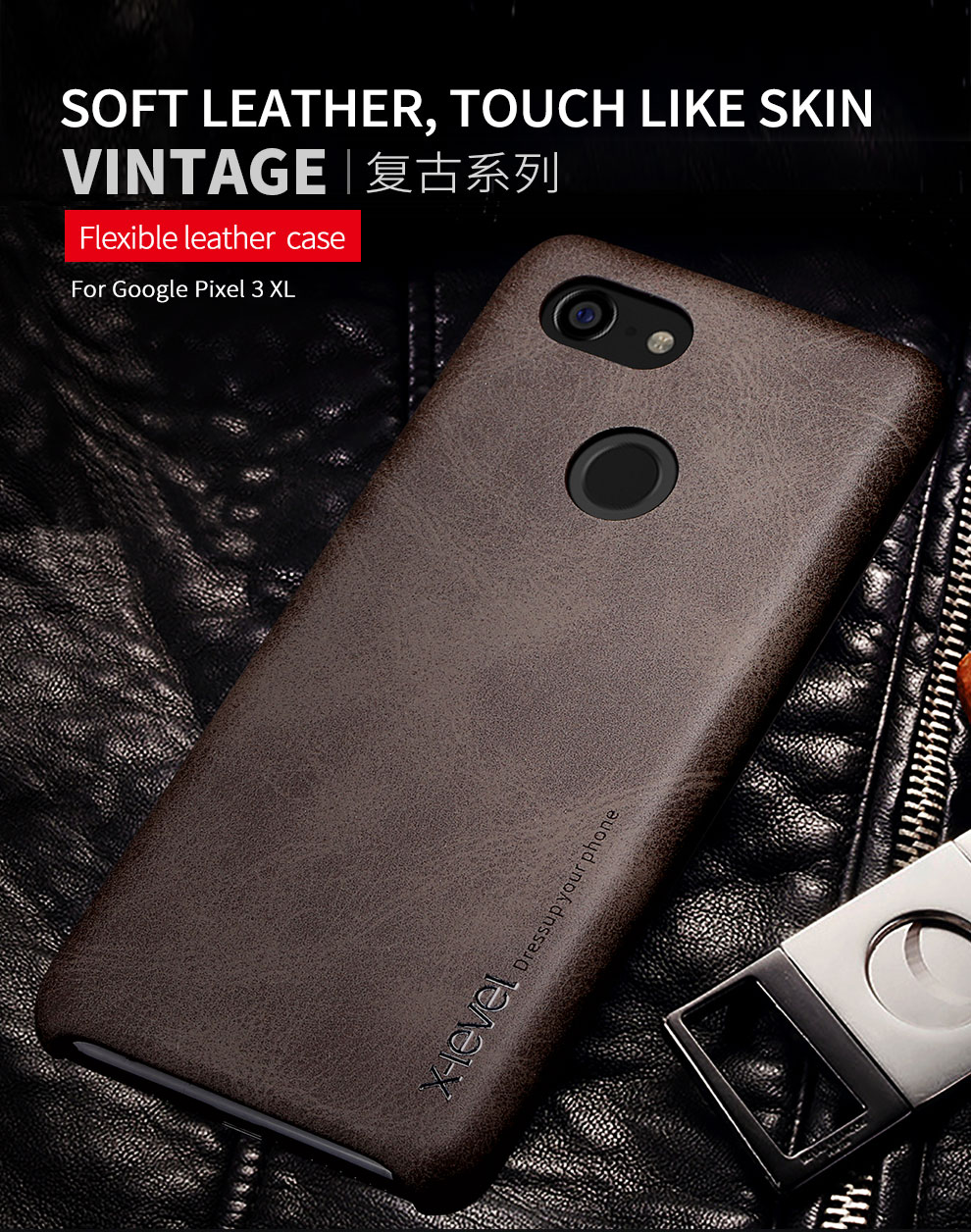newest de8f2 407fc X-Level Brand New PU Leather Case For Google Pixel 2 2 XL Back Case Cover  for Google Pixel 3 3 XL Vingate Leather Case Capa
