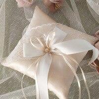Шампанское Кружева ленты обручальное кольцо Подушка 15x15 см цветок украшение в виде жемчужины кольцо подушку помолвка карман
