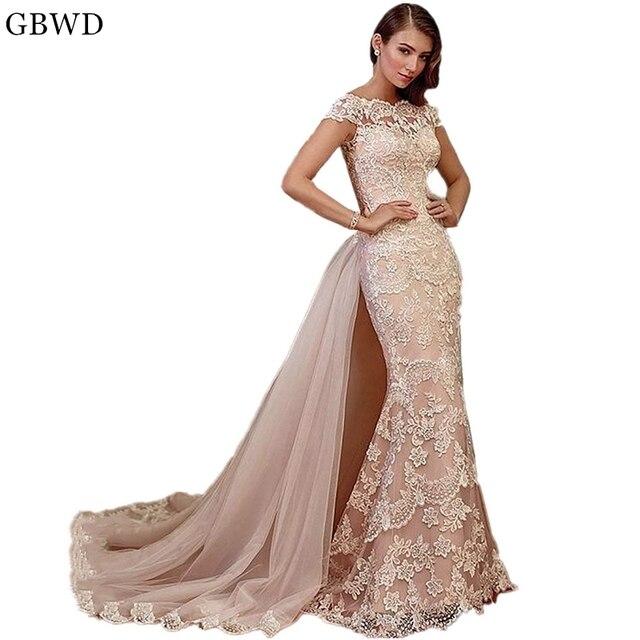 Us 141 75 25 Off 2019 Champagne Elegant Wedding Dress Zipper Boat Neck Short Sleeve Boho Wedding Dress Plus Size Wedding Dress Vestido De Noiva In